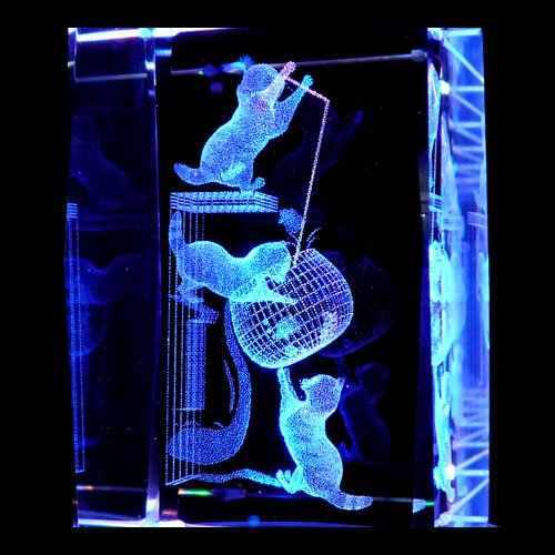 Kittens Playing 3d Laser Etched Crystal Display Light